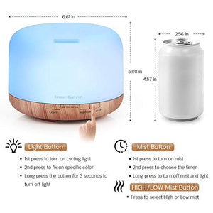 500ml Aromatherapy Essential Oil Diffuser Cool Mist Humidifier Waterless Auto Shut-off with 4 Timers and 7 LED Color Changing Lights (Yellow) : Beauty
