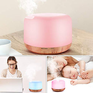 Essential Oil Air Mist Diffuser - Quiet Aroma Essential Oil Diffuser with Adjustable Cool Mist Humidifier Mode Waterless Auto-off 7 Color Lights Changing for Office Home Bedroom Living Room (300ml) : Beauty