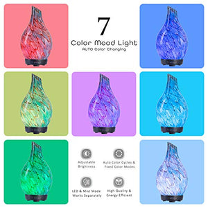 Essential Oil Diffuser, Art Glass Ultrasonic Aromatherapy Diffuser with Timer and Waterless Auto Shut-Off, 7 Colors LED Night Lights for Home Yoga Spa(100ML) (Blue) : Beauty