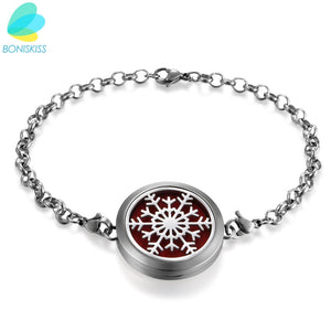 Hot Stainless Steel Perfume Locket Bracelet Round Aromatherapy Essential Oil Diffuser With Chain
