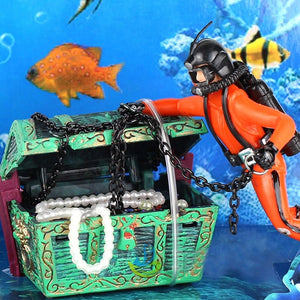 Treasure Hunter Diver Action Figure Fish Tank Ornament Landscape Aquarium Decoration Accessories