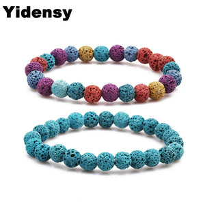 10 Colors Lava Stone Beads Bracelet Essential Oil Perfume Diffuser Multicolor Black 8mm Strand Bracelet Yoga Jewelry