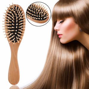 Hair Massage Comb Brush Natural Wooden Bamboo Needle Black Rubber Air Bag Massage Comb Heat-Resisting Anti-Static Comb