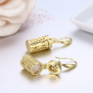 Brass and Gold Plated Hollow Out Filligree Cross Perfume Bottle Essential Oil Diffuser Drop Dangle Earrings For Women Girls Jewelry