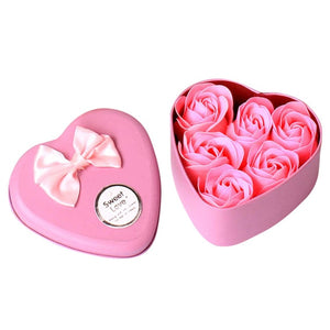 6Pcs Rose Flower Soap Petal Bath Body Soap Heart Scented Christmas Gift Wedding Festival Decoration Gift Candy box Air freshener