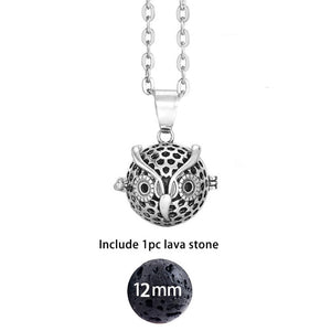 Felt Ball Lava Stone Aromatherapy Antique Vintage Glow Diffuser Necklace Locket Necklace for Perfume Essential Oil