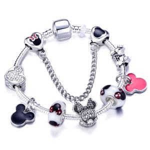 Fashion Animal Micky Hat Perfume Charm Bracelet Fit Snake Chain Brand Bracelet For Women Female jewelry Gift