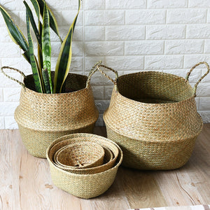 Handmade Foldable Natural Seagrass Baskets for Flower Pot Plant