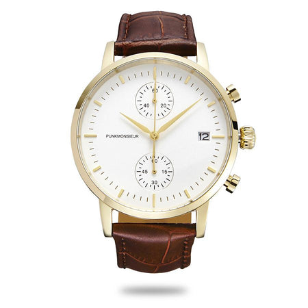 Gold white and brown chrono