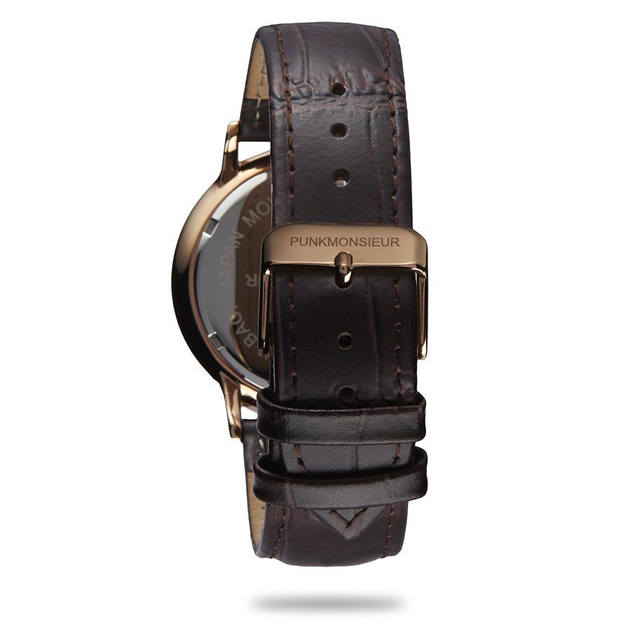 Classic Gold Brown Leather Watch - Punk Monsieur