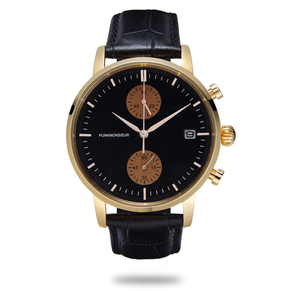 Gold rose chronograph watch