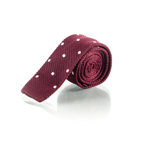Red Polka Dot Wine Knit Tie - Punk Monsieur
