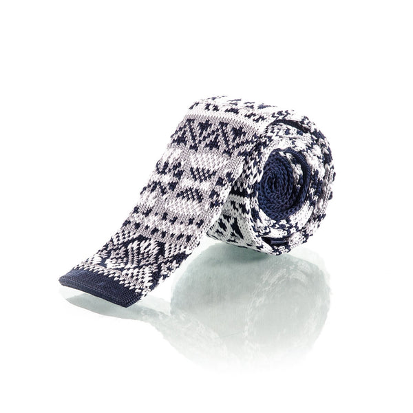 White & Blue Woven Knit Tie - Punk Monsieur