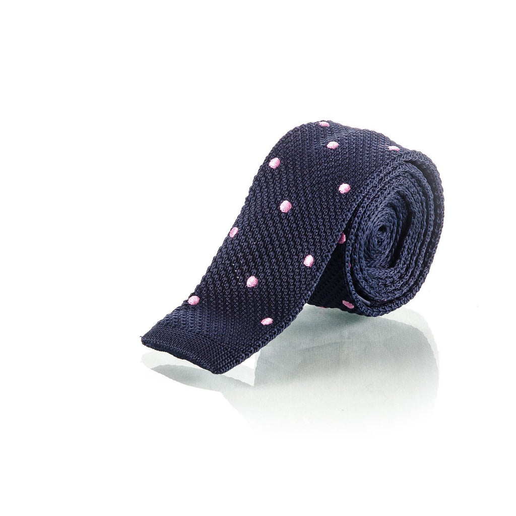 Blue and Pink Polka Dot Knitted Tie - Punk Monsieur