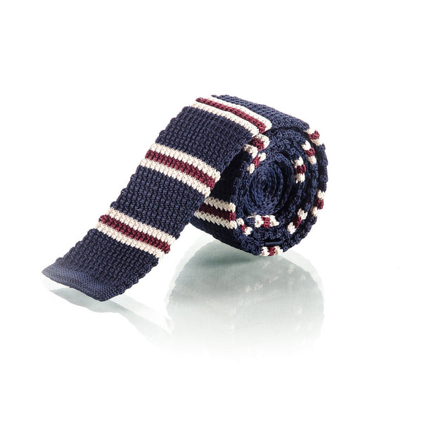 Red, White & Blue Knitted Cotton Stripe Tie - Punk Monsieur