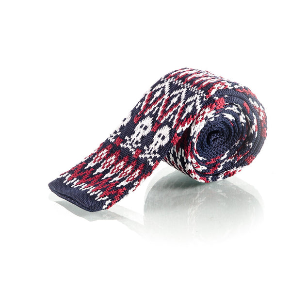 Red & Blue Woven Knit Winter Tie - Punk Monsieur