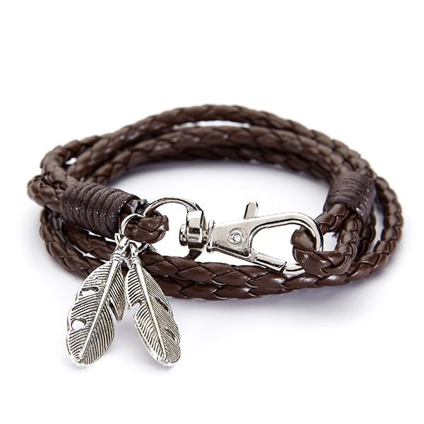 Brown leather feather bracelet