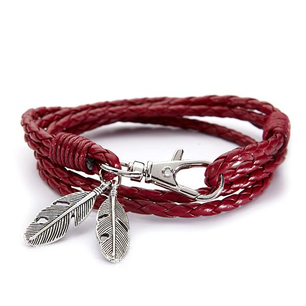 Red leather feather bracelet