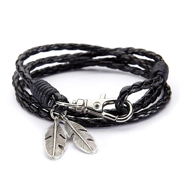Black leather feather bracelet