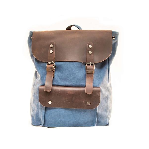 Blue Leather backpack - Punk Monsieur