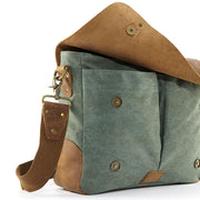 Green leather messenger bag
