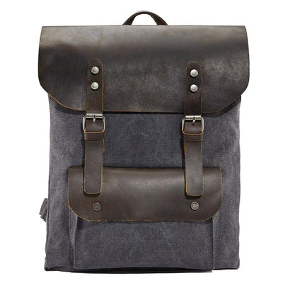 Dark blue leather backpack - Punk Monsieur