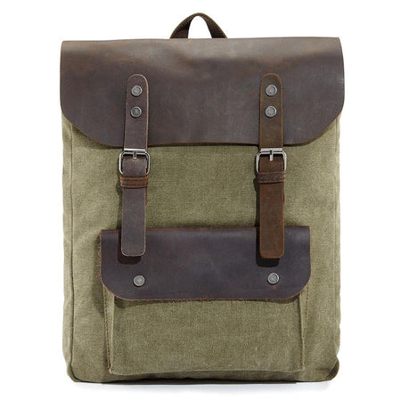 Army grey leather backpack - Punk Monsieur