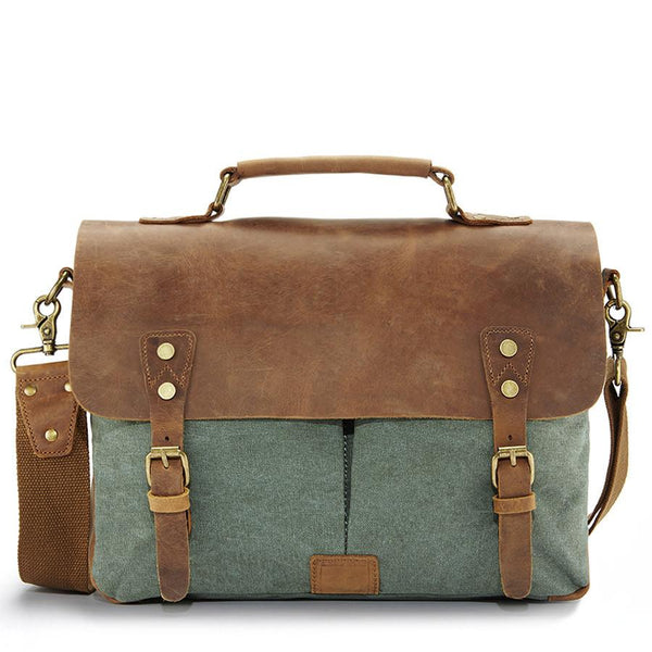 Green leather messenger bag - Punk Monsieur