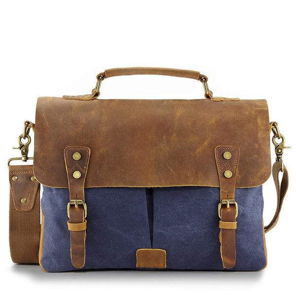Blue leather messenger bag - Punk Monsieur