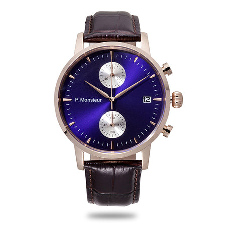 Brown and blue chrono watch