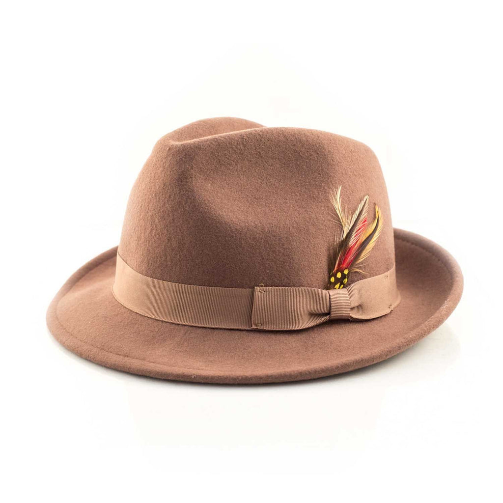 Feather Stick Brown Fedora - Punk Monsieur