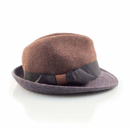 brown and blue felt fedora - Punk Monsieur