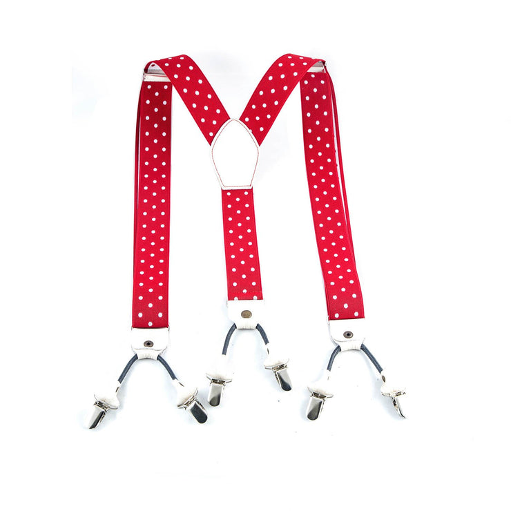 Red & White Pois Suspenders - Punk Monsieur
