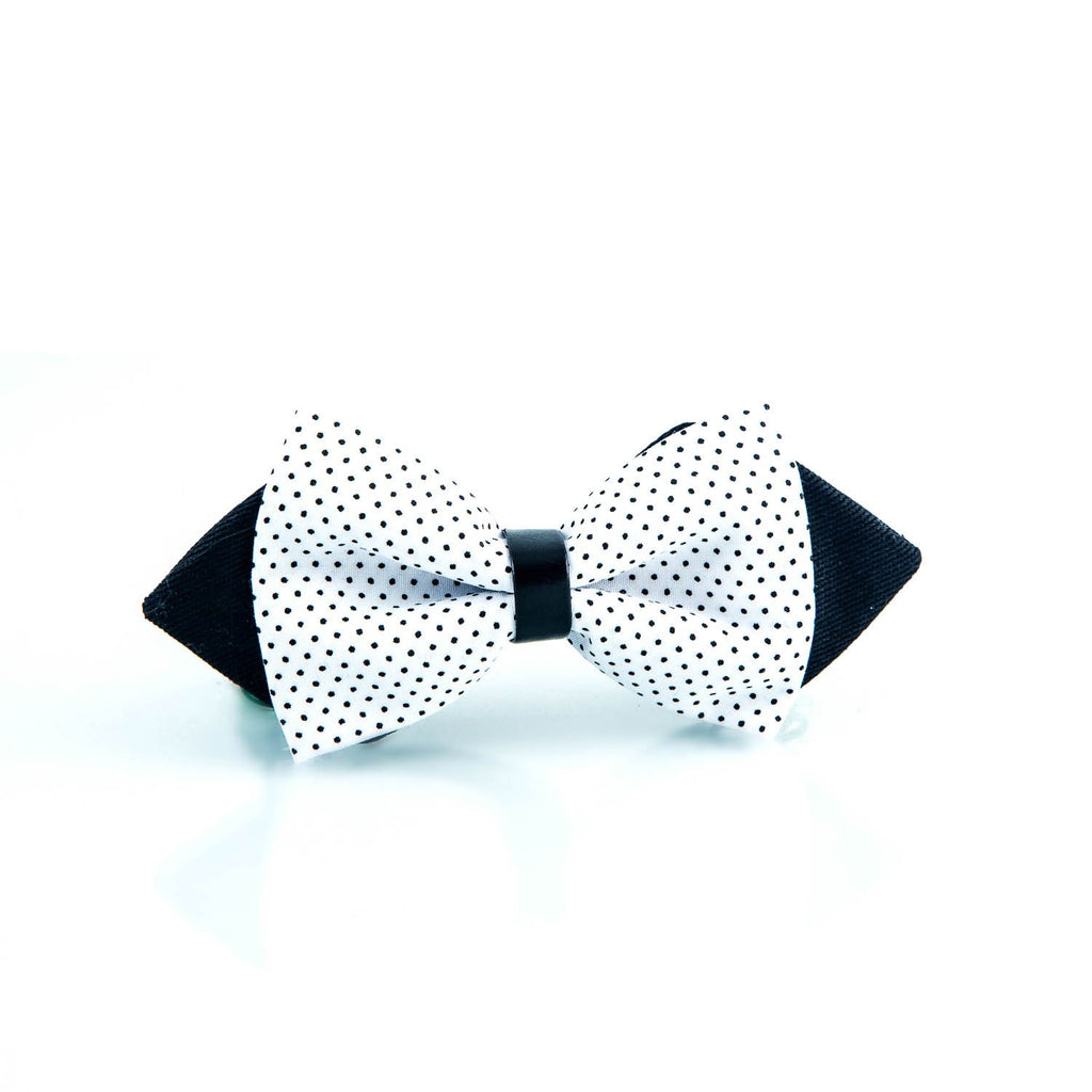 Bicolor Double Layer White and Black Microdot Bow Tie - Punk Monsieur