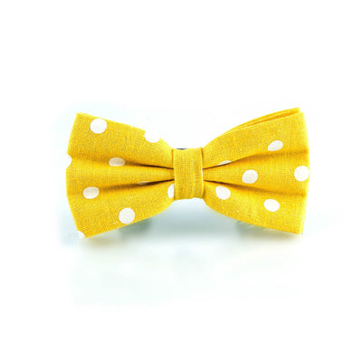Yellow & White Polka Dot Cotton Adjustable Bow Tie - Punk Monsieur