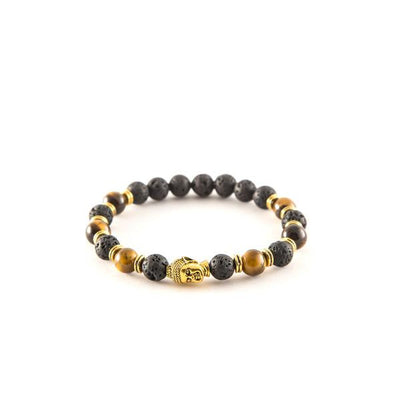 Brown and Gold beaded bracelet - Punk Monsieur