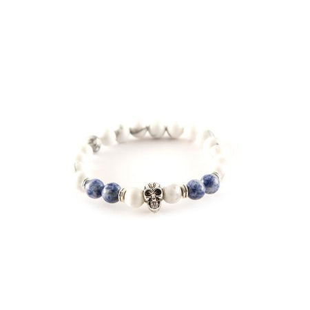 White and Blue beaded bracelets - Punk Monsieur