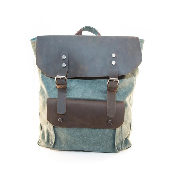 Green Leather Backpack - Punk Monsieur