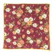 Marsala floral pocket square - Punk Monsieur