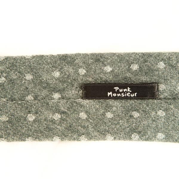 Light Grey and Green polka dot tie