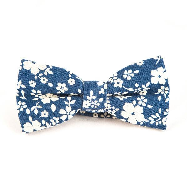 Blue and White Floral Bow Tie - Punk Monsieur