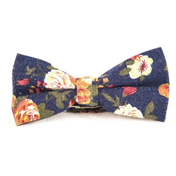 Blue Floral Cotton Bow Ties - Punk Monsieur