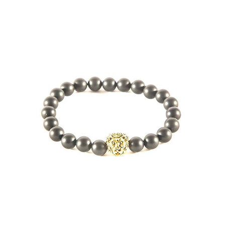 Matte black lion bracelet - Punk Monsieur