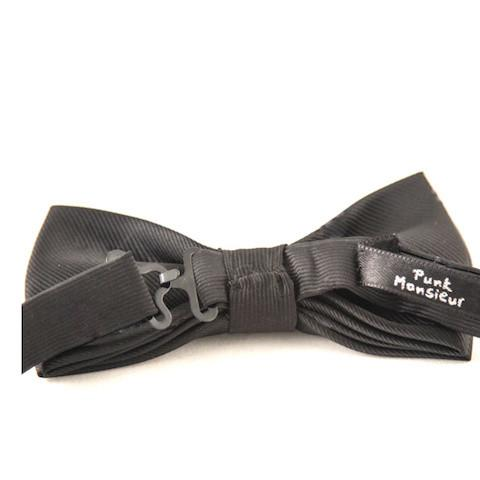 Bicolor Double Layer White and Black Microdot Bow Tie