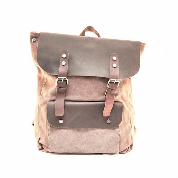 Coffee leather backpack - Punk Monsieur