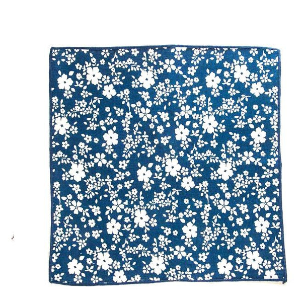 White and Blue Floral Pocket Square - Punk Monsieur
