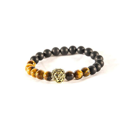 Black and brown lion bracelet - Punk Monsieur