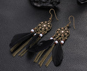 Black Feather Pendant Earrings