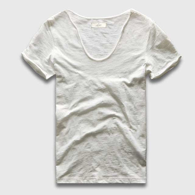 White V neck cotton T-Shirt