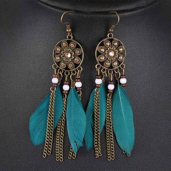 Turquoise Green Pendant Earrings